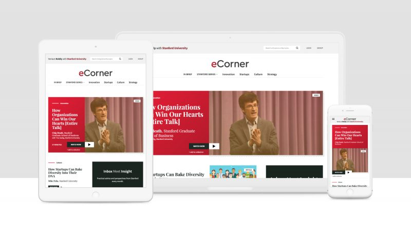 A screenshot of eCorner. Stanford is one of 10up's clients.