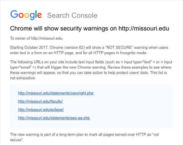 google says add ssl to your site or it will be marked as not secure