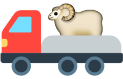 The original Truck Sheep illustration was created from a combination of emojis: a truck and a ram. The ram is sitting on the truck's bed.