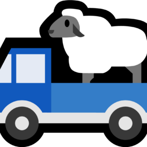 Truck Sheep is an illustration of a blue pickup truck with a fluffy sheep in the truck bed