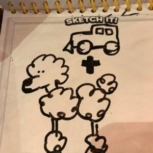The origin drawing of Truck Sheep, which is a drawing of a truck, a plus sign, and a poodle