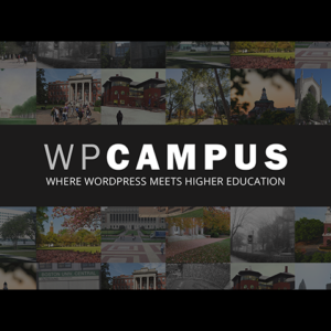 WPCampus logo with photos of college campuses
