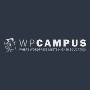 Dark blue desktop wallpaper with WPCampus logo - 2560x1600