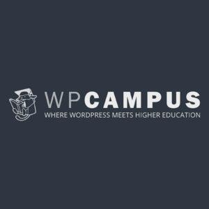Dark blue desktop wallpaper with WPCampus logo - 2560x1600